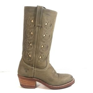 Frye Austin Flower Women Riding Pull On Boots 6 M